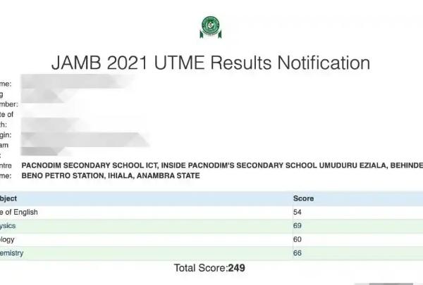 JAMB 2021 result portal link